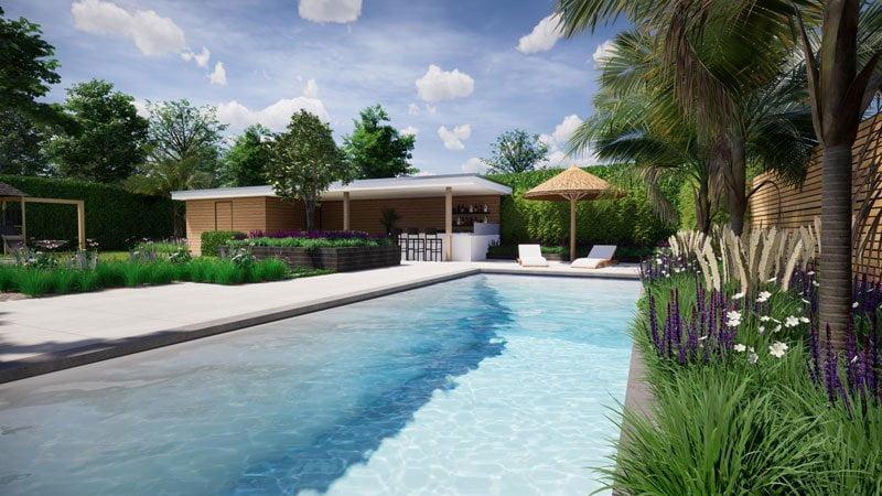 3D tuinaanleg zwembad Tilburg